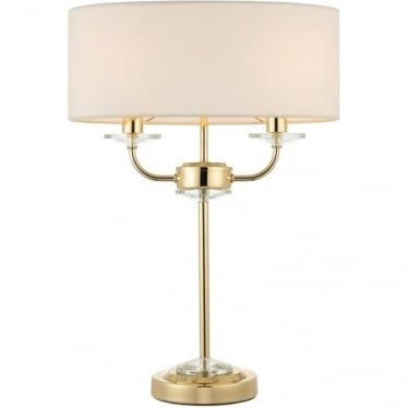 Nixon 2 light table lamp - Brass & vintage white faux silk