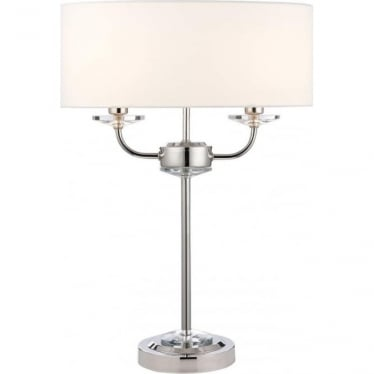 Nixon 2 light table lamp - Bright nickel & vintage white faux silk