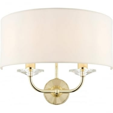 Nixon 2 light wall fitting - Brass & vintage white faux silk