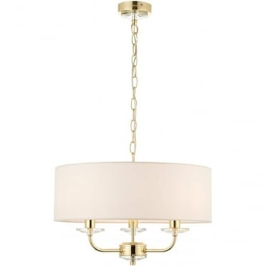 Nixon 3 light pendant - Brass & vintage white faux silk