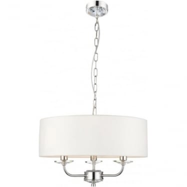 Nixon 3 light pendant - Bright nickel & vintage white faux silk