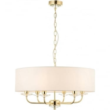 Nixon 6 light pendant - Brass & vintage white faux silk