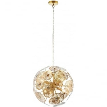 Nuphar 6 light pendant - Matt antique brass