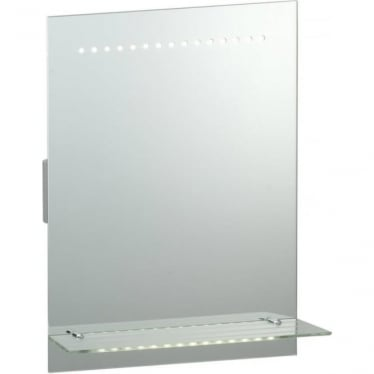 Omega Shaver Mirror - glass shelf, motion sensor, de-mister and shaver socket