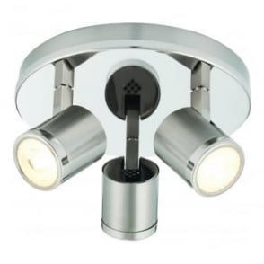 Oracle LED 3 light round flush ceiling fitting - Bright & brushed nickel plate
