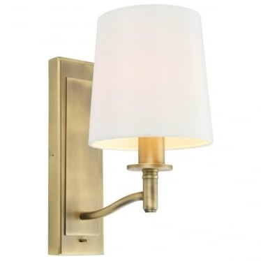 Ortona single light wall fitting - Matt antique brass & vintage white faux silk