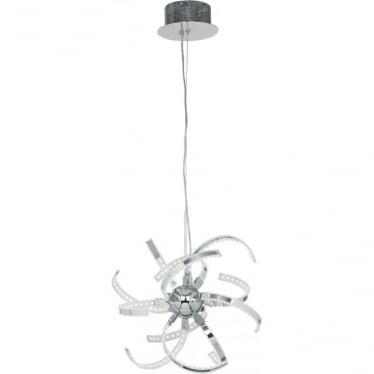 Pacino 12 light pendant - chrome plate & frosted acrylic