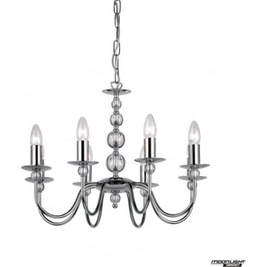 Parkstone 8 light pendant - Chrome plate & clear glass