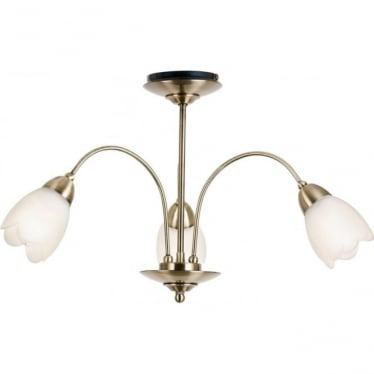 Petal 3 light semi flush ceiling fitting - Antique brass & matt opal glass