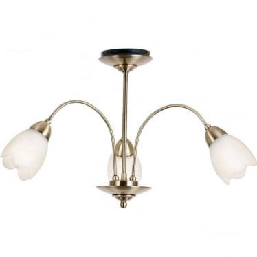 Petal 3 light semi flush ceiling fitting - Antique brass & matt opal glass