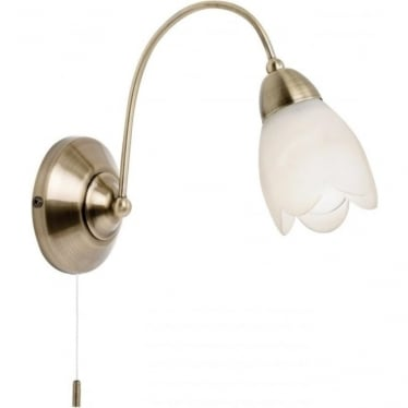 Petal single light wall fitting - Antique brass & matt opal glass