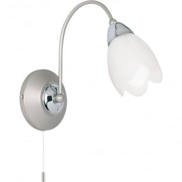 Petal single light wall fitting - Satin chrome & matt opal glass