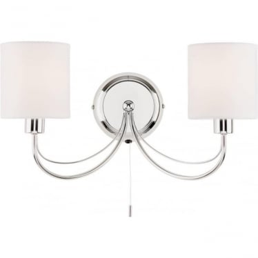 Phantom 2 Light Wall Fitting - Chrome plate & white cotton mix