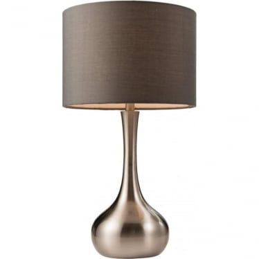Piccadilly touch table lamp - Satin nickel & dark grey cotton mix