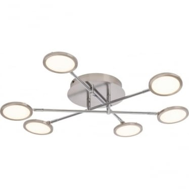 Pluto 6 light semi flush fitting - Nickel