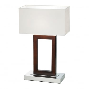 Portal table lamp - Dark wood & cream faux suede