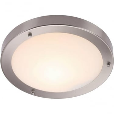Portico 300mm Flush fitting IP44 60W - Satin nickel & frosted glass