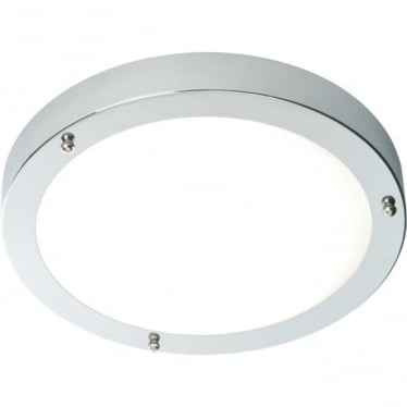 Portico LED 300mm flush fitting IP44 9W cool white - Chrome plate & frosted glass