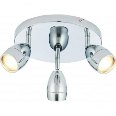 Porto LED 3 light round flush ceiling fitting - Chrome plate & clear glass