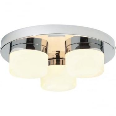 Pure 3 Light Flush Fitting IP44 28W - Chrome Plate & Matt Opal Duplex Glass