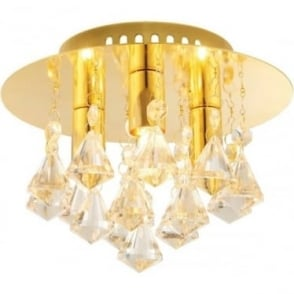 Renner 3 light flush ceiling fitting - Champagne crystal glass & Gold effect