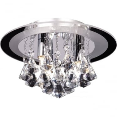Renner 3 light flush ceiling fitting - clear crystal glass & chrome plate