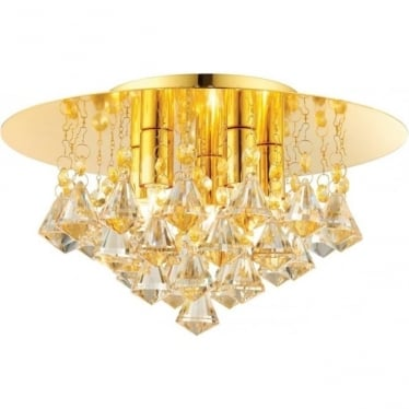 Renner 5 light flush ceiling fitting - Champagne crystal glass & Gold effect