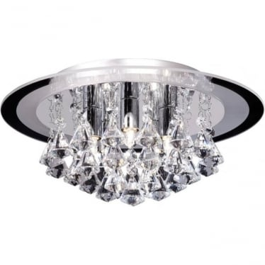 Renner 5 light flush ceiling fitting - clear crystal glass & chrome plate