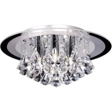Renner 5 light flush ceiling fitting - clear crystal glass & chrome plate
