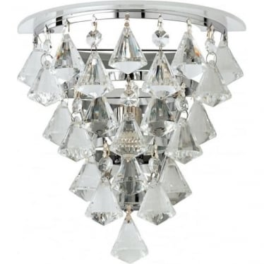 Renner single wall light - Clear crystal glass & chrome plate