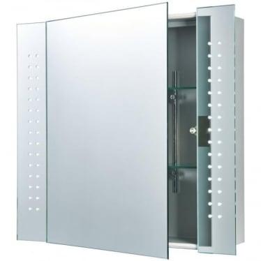 Revelo Shaver Cabinet Mirror - Mirrored glass & Matt Silver Finish
