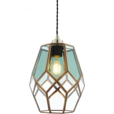 Ripley Non electric shade - Antique brass, clear & smoked glass
