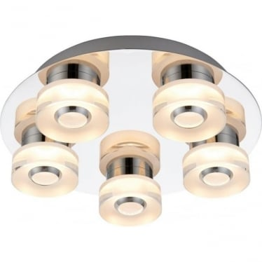 Rita 5 light Flush fitting - Colour Changing RGB - Clear & frosted acrylic