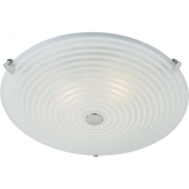 Roundel 2 light flush ceiling fitting - Frosted & clear patterned glass with chrome plate
