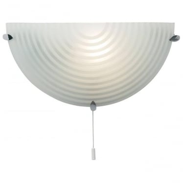 Roundel single light wall fitting - Frosted & clear patterned glass with chrome plate