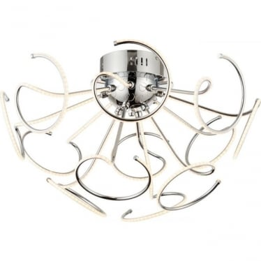 Sandy 12 light semi flush ceiling fitting - Chrome