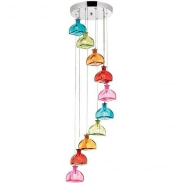Sarandon 10 light pendant - Multi coloured glass & chrome plate