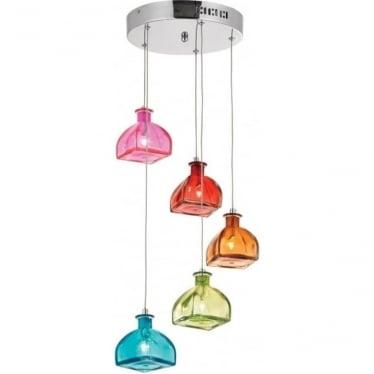 Sarandon 5 light pendant - Multi coloured glass & chrome plate