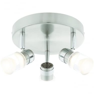 Saturn LED 3 light round flush ceiling fitting - Brushed chrome & chrome plate with clear & frosted acrylic