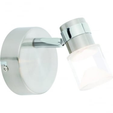 Saturn LED single light wall fitting - Brushed chrome & chrome plate with clear & frosted acrylic