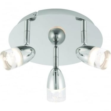 Saul LED 3 light round flush ceiling fitting - Bright nickel & clear acrylic with bubbles