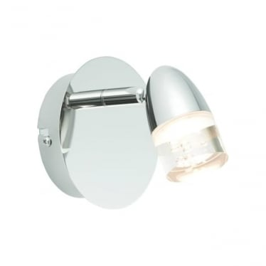 Saul LED single light wall fitting - Bright nickel plate & clear acrylic with bubbles