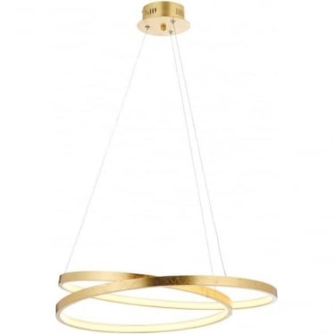 Scribble LED pendant - Gold leaf & frosted acrylic