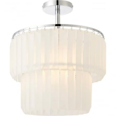 Selina single light semi flush fitting - Chrome plate & frosted glass
