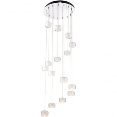 Seymour 15 light Pendant - Chrome plate, clear & frosted crystal glass