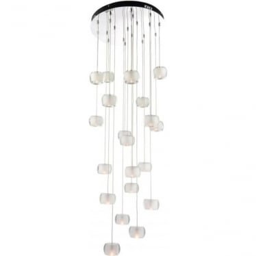 Seymour 20 light Pendant - Chrome plate, clear & frosted crystal glass
