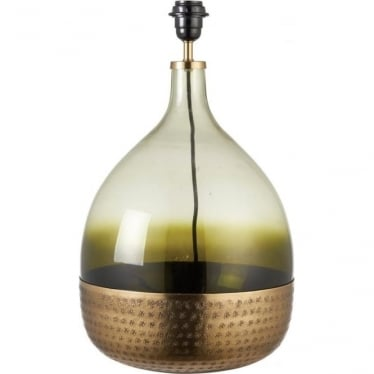 Sultan table lamp - Tinted green glass & satin brass - Base only