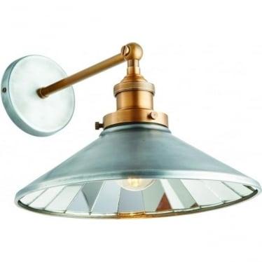 Tabyas single light wall fitting - Zinc effect & antique solid brass with mirrored glass