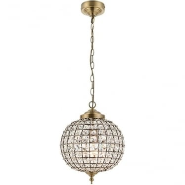 Tanaro single light pendant - Antique brass & Clear glass