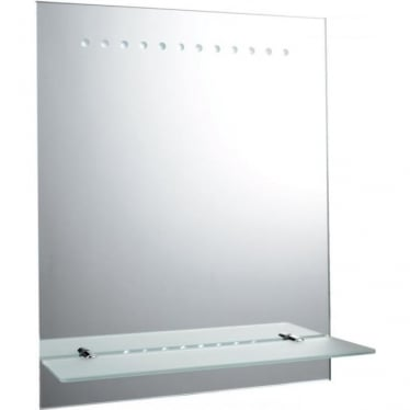 Taro Battery Operated Mirror - Mirrored glass & matt silver